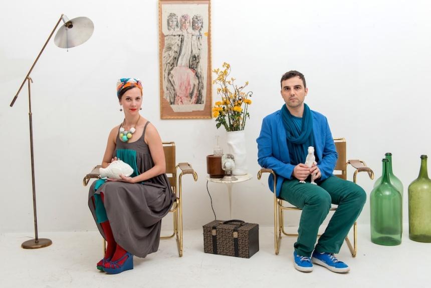 Ignacio Garcia and Paola Sinisterra and their ceramic pets