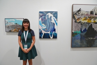 Gallerist Melissa Loughnan of Utopian Slumps with works by William Mackinnon