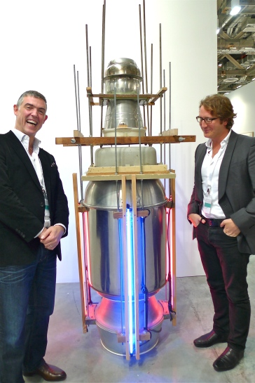 Whitecube's Matt Carey-Williams and Graham Steele with a Liu Wei Work
