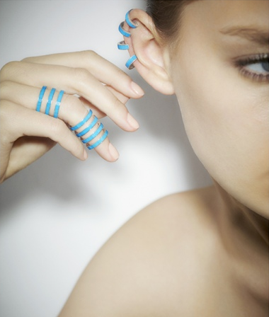 Earcuffs and rings in turquoise from the Berbe collection. Available exclusively at Colette