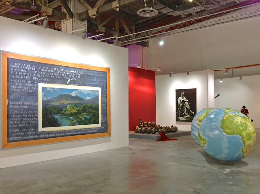 Jumaldi Alfi, 'Melting Memories of Basoeki Abdulah', 2012 (left) and Rudi Mantofani, 'The Earth and the World', 2009-2012 (right)