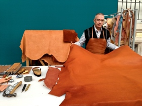 First thing's first - choosing the leather. Only the best unblemished, unveined leather is chosen for Hermes saddles