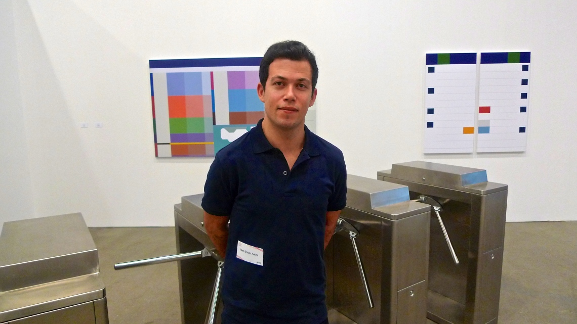 Joao Vasco Paiva with his installation, 'Counterpoints', 2011