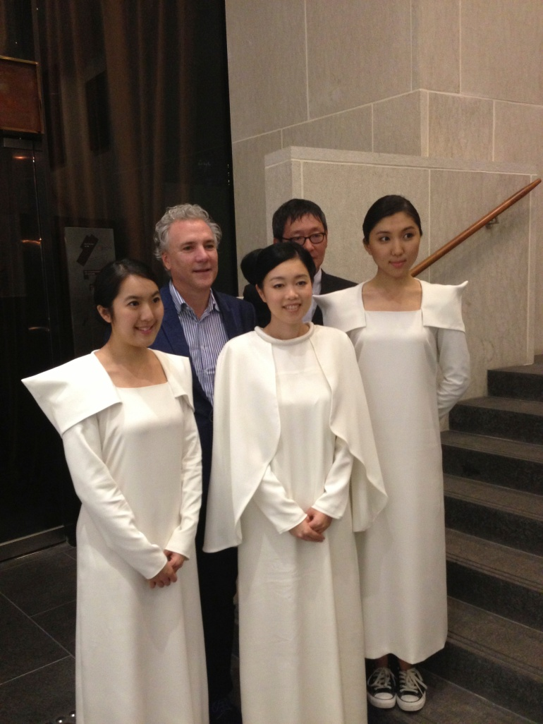 Raphael Castoriano (left, back row) with Mariko Mori (front centre) and her performers