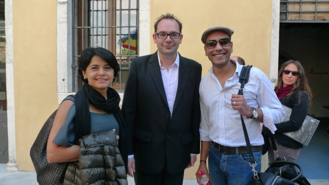 (L-R) Shideh Shaygan; M+ Curator, Tobias Berger; and Jay Parmanand