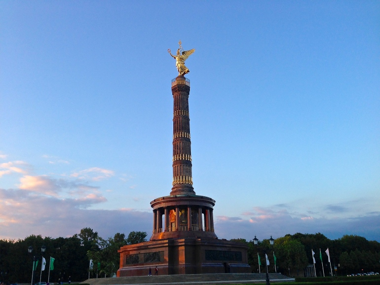Berlin's iconic Victory Column with 'Goldelse' perched triumphantly atop it
