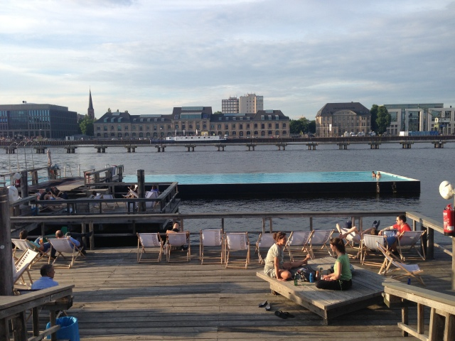 Badeschiff pool and artificial beach on the river Spree
