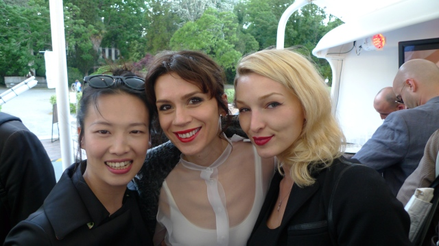 At Portuguese artist Joana Vasconcelos' preview party with pianist Rosey Chan (left) and designer Lara Bohinc (centre)