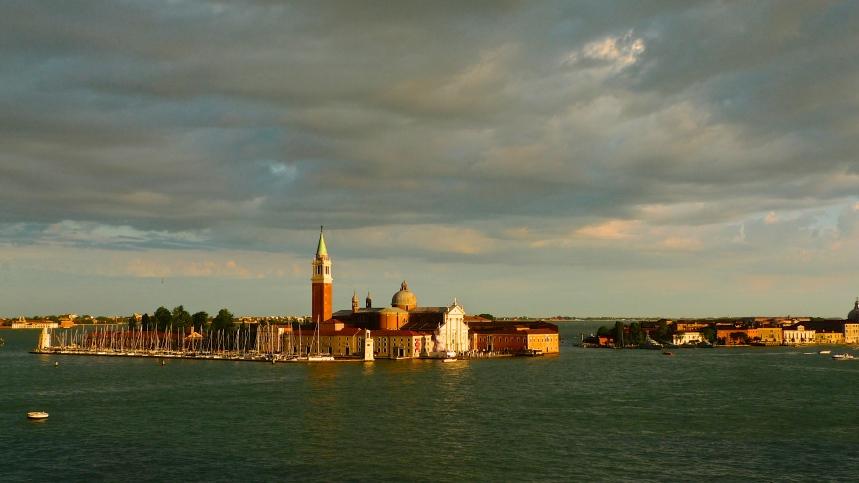 Beautiful Venetian sunset painting the city gold
