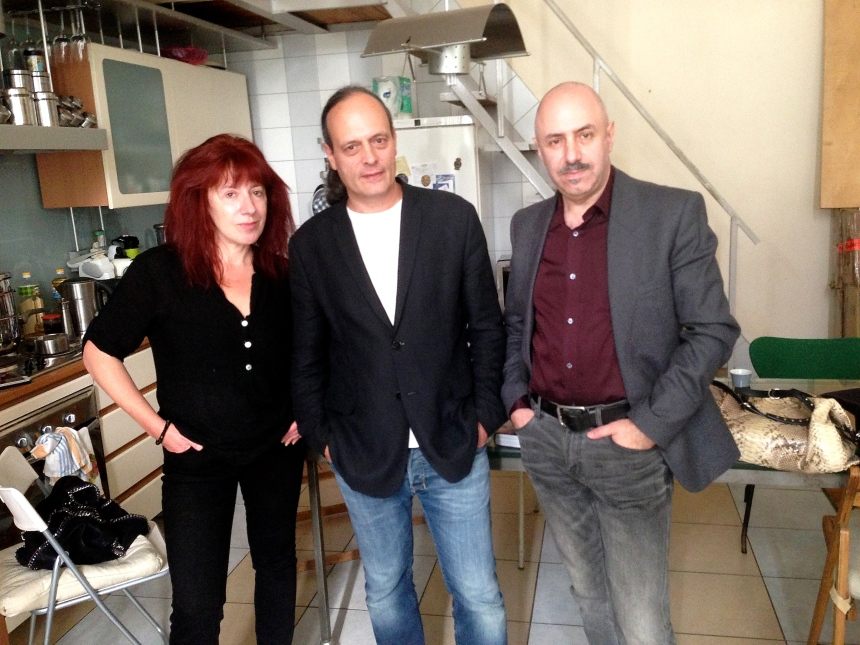 Russian art collective AES+F (or -F in this case) in their studio: Tatiana Arzamasova, Lev Evzovich and Evgeny Svyatsky