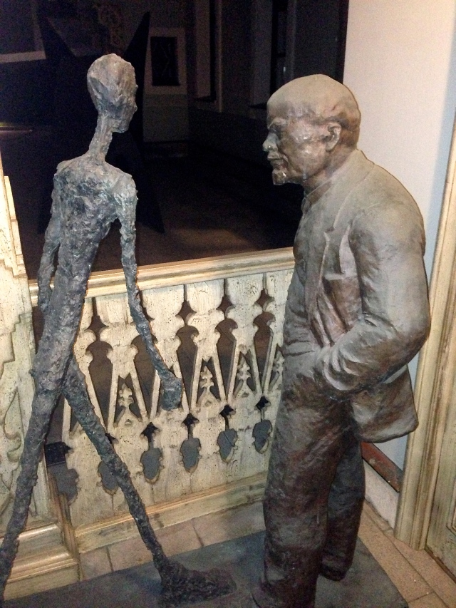Lenin meets modernism in 'A Meeting of Two Sculptures (Lenin and Giacometti)', 1990, by Leonid Sokov from a private collection