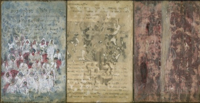 Arun K.S. 'Untitled' , 2011; watercolour, carbon ink and pencil on plywood, the surface of which has been prepared with various papers, paper pulp and pages from a Malayalam yoga book and the Holy Bible