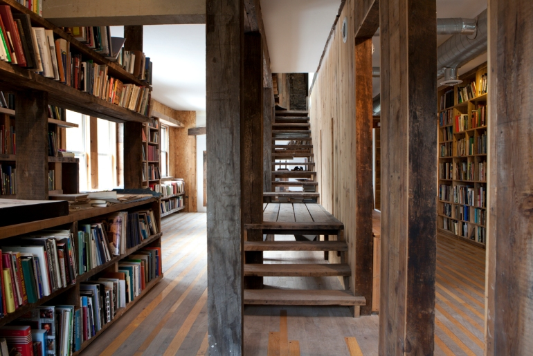 Conversion of Prairie Avenue Bookstore into a small public library, 2009.  Photo: Sara Pooley