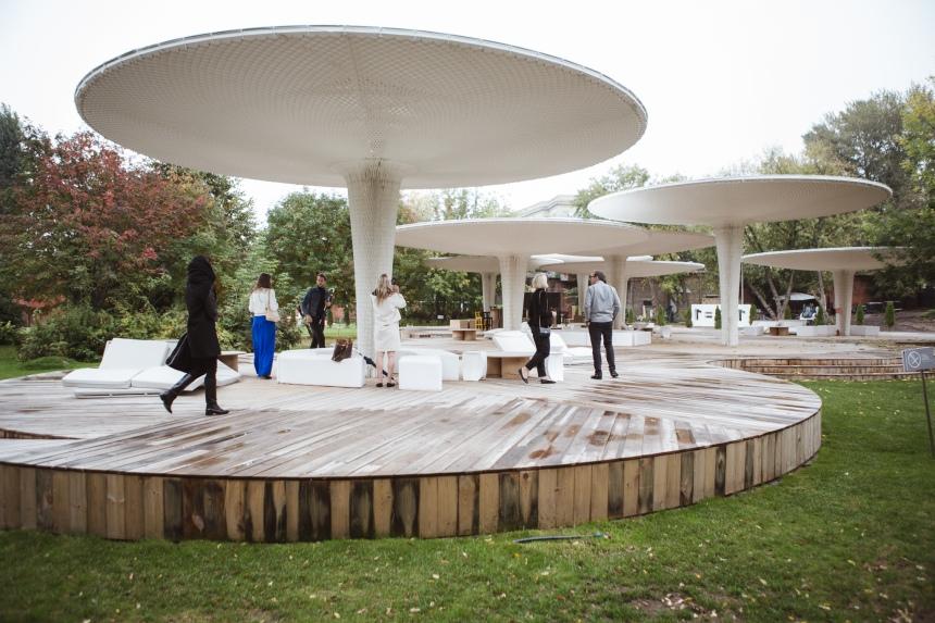 Shigeru Ban designed temporary outdoor pavilion