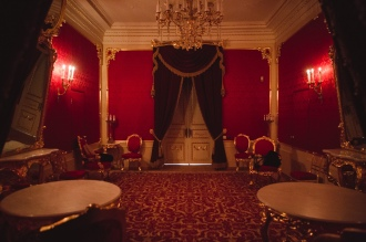 The rarely seen royal room at the Bolshoi where Tsars and royalty relaxed and entertained.