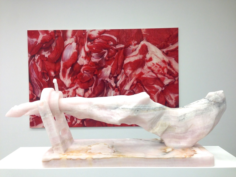 Background: 'Flesh Painting (On Carpaccio)' 2013 Foreground: 'The Invention of Carving', 2013