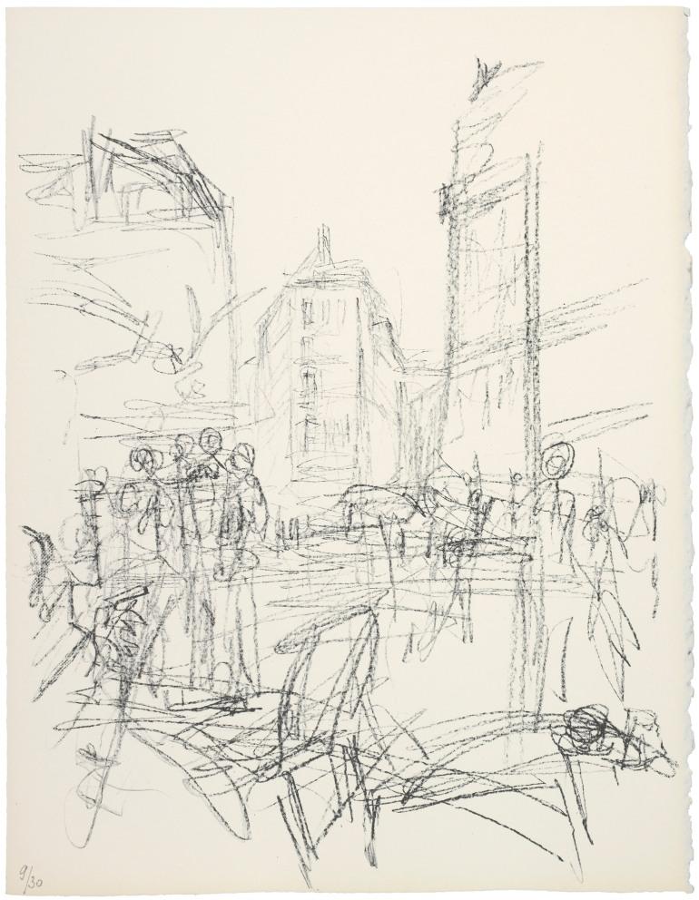 Alberto Giacometti, 'Foule à un Carrefour',  Lithographie, Collection Fondation Giacometti, Paris © Estate Giacometti, 2014