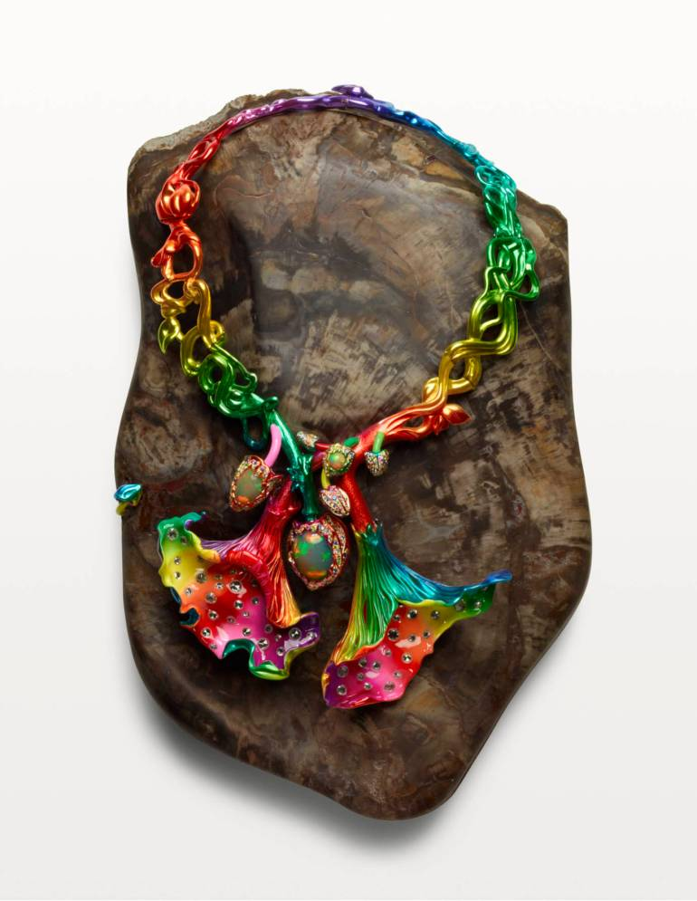 'Amanita Satana Diabolus', 2010. Lacquered silver, white gold, yellow gold, opals, coloured sapphires, mandarin garnets, spinels, diamonds, petrified wood.