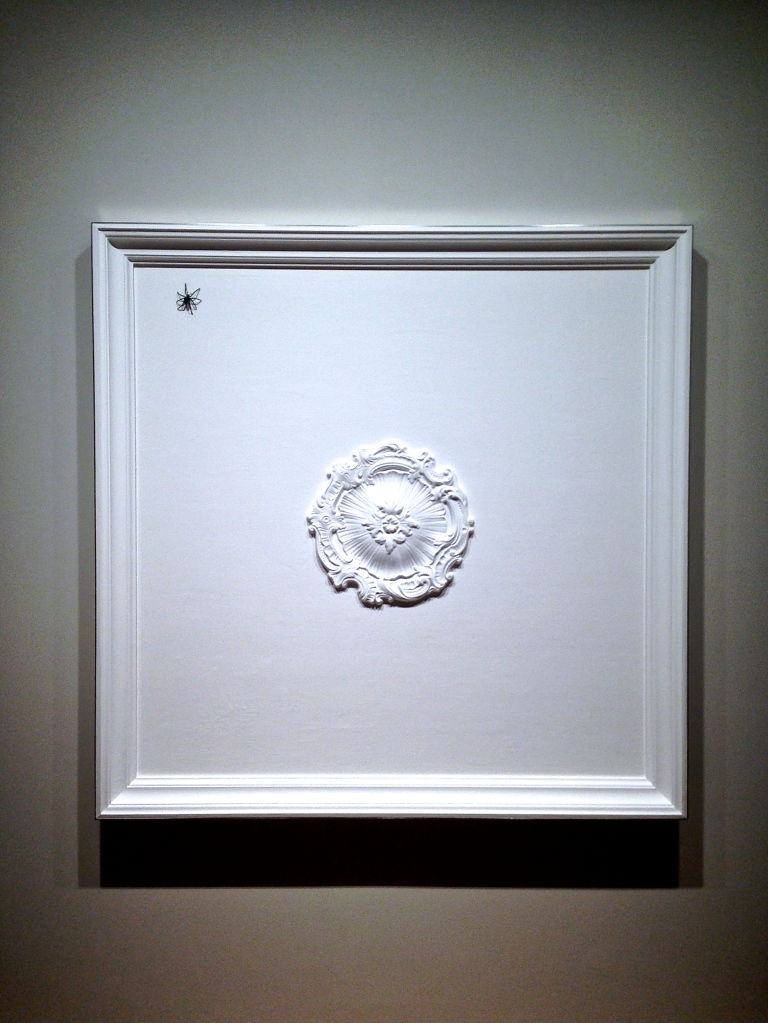 Elmgreen: This is a reference to Louise Bourgeois, except she always used the female spider. We're using the male spider which is much smaller than the female. It's on a classic European stucco ceiling.