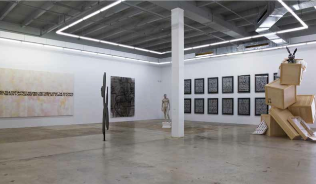 From left to right: Richard Prince, 'Nuts', 2000; Peter Coffin, 'Sculpture Silhouette (J. Koons 'Balloon Dog' 1994- 2000)', 2009; Christopher Wool, 'Untitled', 2007; Frank Benson, 'Human Statue', 2005; Steven Shearer, 'Poems XII', 2005; Steven Shearer, 'Poems XVII', 2005; Elmgreen & Dragset, 'Crash...Boom...Bang!', 2008
