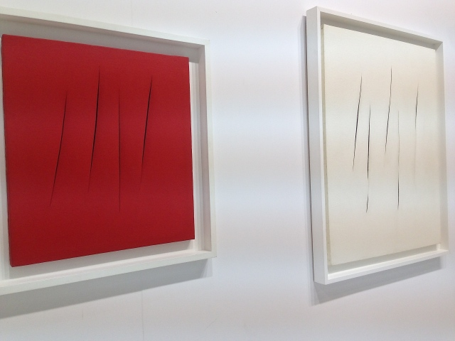 One of my faves, Lucio Fontana's, 'Conzetto Spatiale,' at Tornabuoni Art.