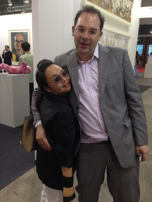 Arts writer Alex Seno and  M+ curator Tobias Berger sharing the love at the Art Basel preview.