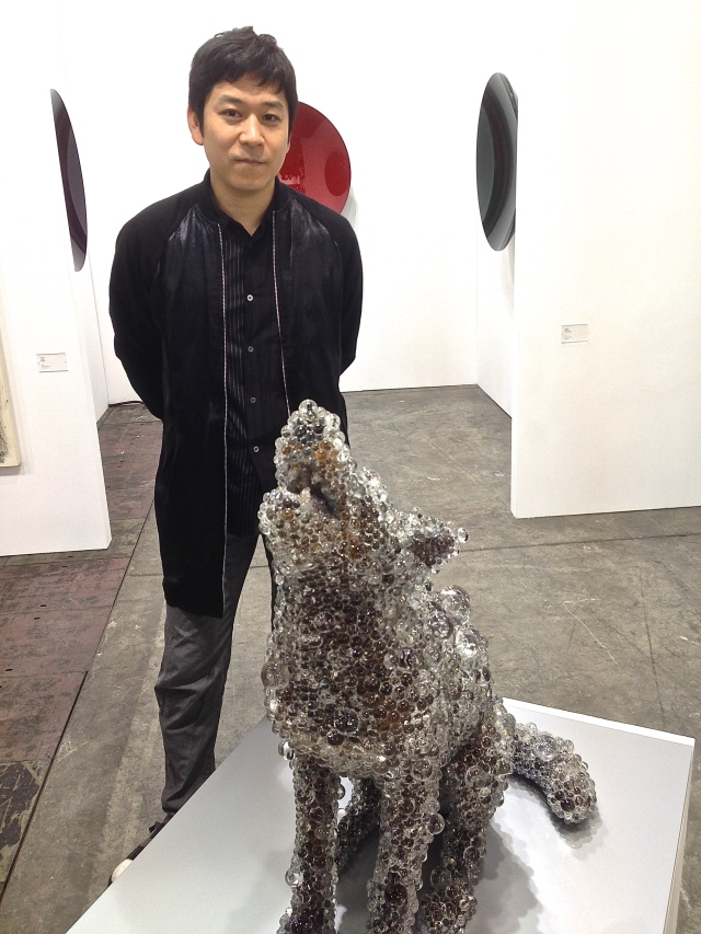 Japanese artist Kohei Nawa with 'PixCell Coyote', at SCAI The Bathhouse.