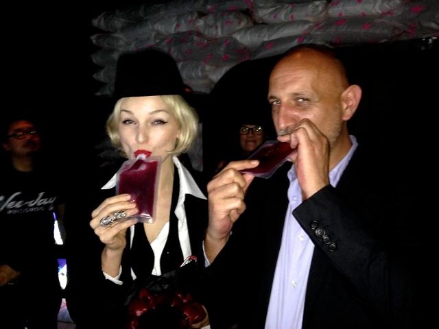 Cocktails 'True Blood' style at Nadim Abbas' Apocalypse Postponed Absolut Bar, with Art International artistic director, Stephane Ackermann