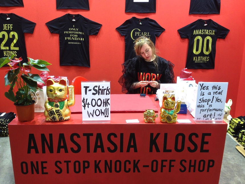 Melbourne artist Anastasia Klose at her 'One Stop Knock'Off Shop' selling art spoof t-shirts. Art Blasé sold out!