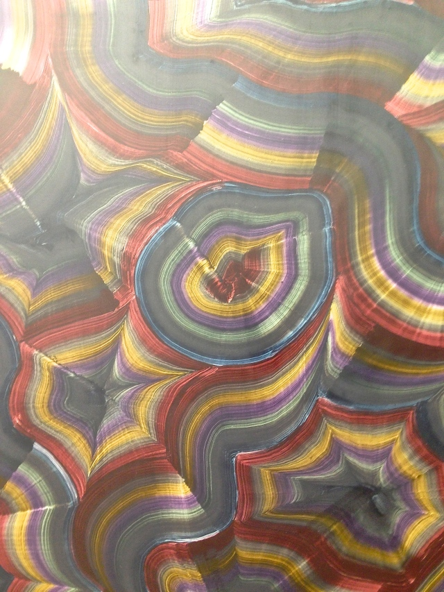 Detail from a beautiful agate slice-like painting by Bernard Frize at Galerie Perrotin