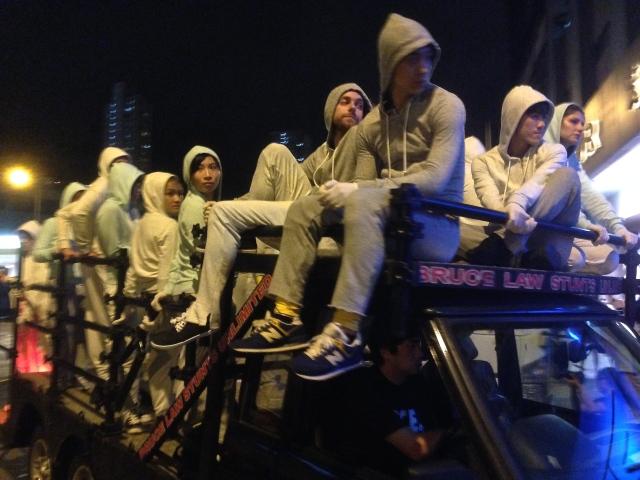 Ryan McNamara and his crew of dancers arrive at the Chai Wan Mei party
