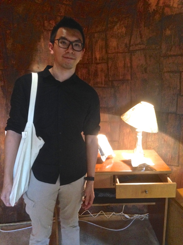 Hong Kong artist Thomas Yuen in front of his work at Objet a: solitude