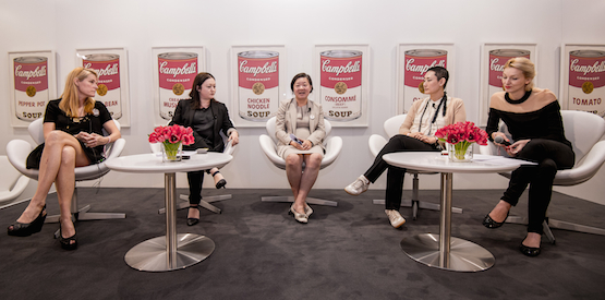 The UBS panel discussion on 'Women in the Arts'. (L-R) Katie deTilly, director of 10 Chancery Lane gallery; Alexie Glass-Cantor, executive director of Artspace, and curator of this year's Art Basel Hong Kong Encounters sector; Alice Mong, executive director of Asia Society; and Emi Eu, director of STPI.