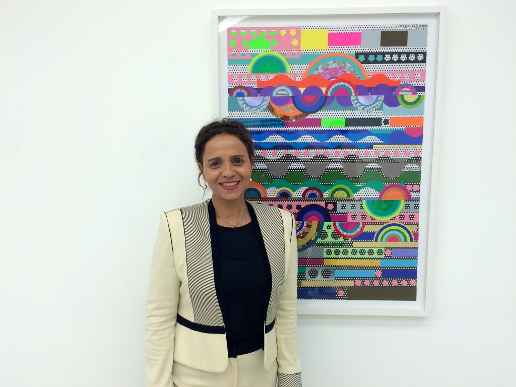 Beatriz Milhazes in front 'Cake Landscape', 2014, at White Cube Hong Kong