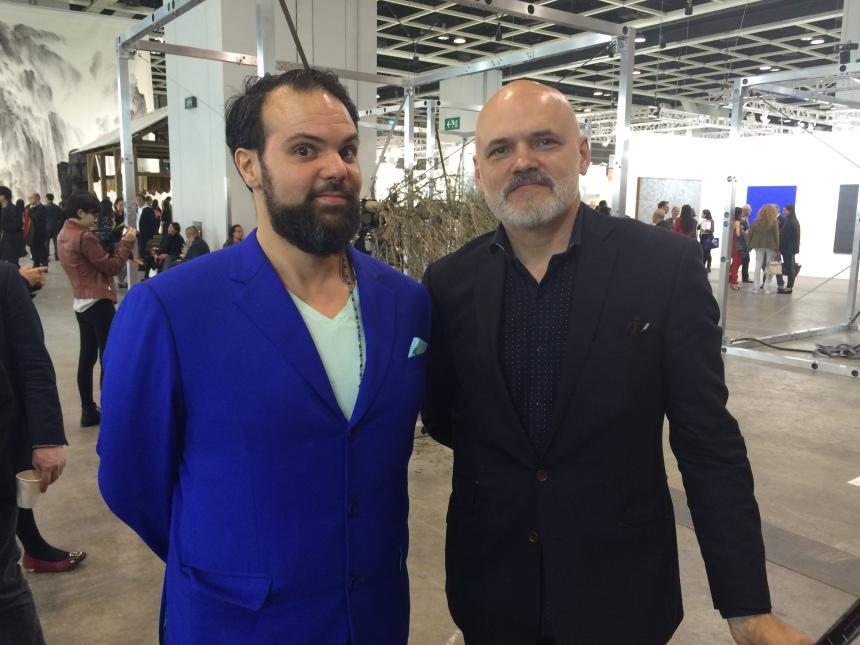 Hong Kong artists, Lyes, and Konstantin Bessmertny, at the Art Basel Hong Kong vernissage