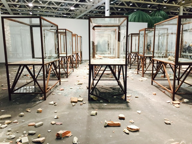 The aftermath of Kader Attia's performance art, 'Arab Spring' at Art Basel Unlimited opening